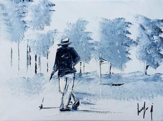Peinture d'un golfeur à Wimereux