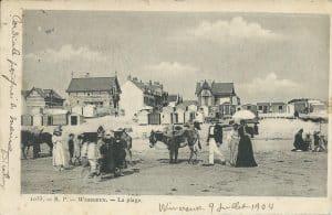 Vue de la plage de Wimereux en 1904